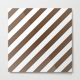 Diagonal Stripes (Coffee/White) Metal Print