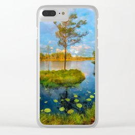 Autumn on the river Clear iPhone Case