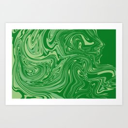 Green pastel abstract marble Art Print