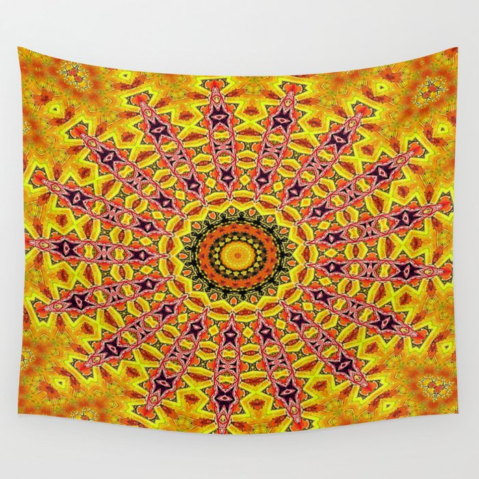 Lovely healing sacred Mandalas in yellow, orange, gold and red with a hint of white Wall Tapestry