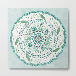 Leaf and Feather Calming Turquoise Mandala Metal Print