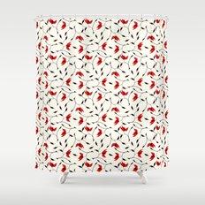 Strange Red Flowers Pattern Shower Curtain