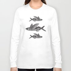 Flying Fish   Black and White Long Sleeve T-shirt