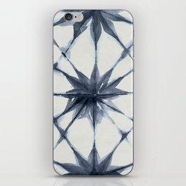 Shibori Starburst Indigo Blue on Lunar Gray iPhone Skin
