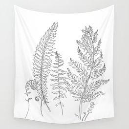 Minimal Line Art Fern Leaves Wall Tapestry