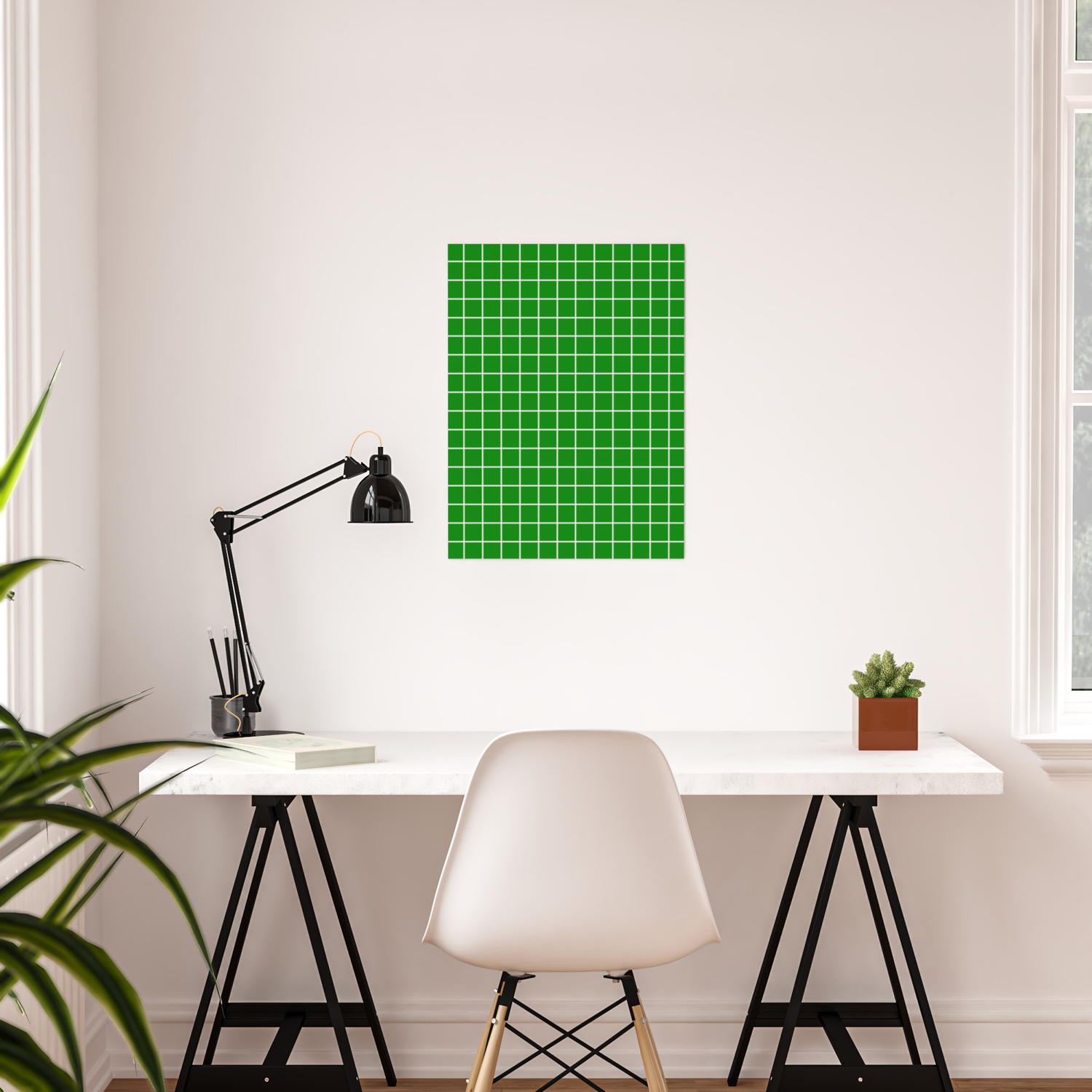 Green (HTML/CSS Color)   Green Color   White Lines Grid Pattern Poster By  Makeitcolorful | Society6