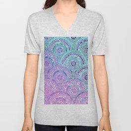Aqua Blue Purple and Pink Sparkling Glitter Circles Unisex V-Neck