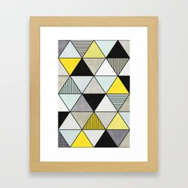 Colorful Concrete Triangles 2 - Yellow, Blue, Grey Framed Art Print