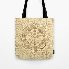 Sri Yantra  / Sri Chakra Pastel Gold Tote Bag