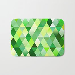 Lime Green Yellow White Diamond Triangles Mosaic Pattern Bath Mat