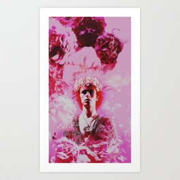 Bowie and Flowers 3 Art Print