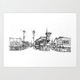 Urban space - Row of shops #2 Art Print