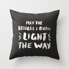 Burned Bridges – Black & White Throw Pillow