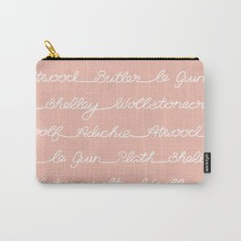 Feminist Book Author Surname Hand Written Calligraphy Lettering Pattern - Pink Carry-All Pouch