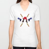 peggy carter V-neck T-shirts featuring Agent Peggy Carter: Spying in Style by semisweetshadow