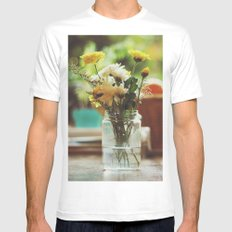 Flowers and oranges MEDIUM White Mens Fitted Tee