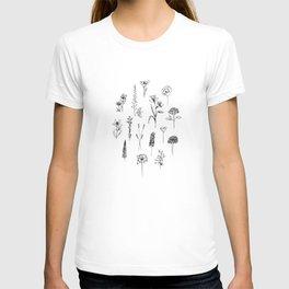 Patagonian wildflowers white T-shirt
