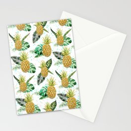 Summer tropical green yellow pineapple leaves watercolor floral Stationery Cards