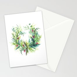 Watercolour Christmas Wreath  Stationery Cards