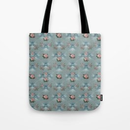 Vintage Blue with Antique Pink Roses Design Tote Bag
