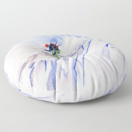 Powder Skiing Floor Pillow