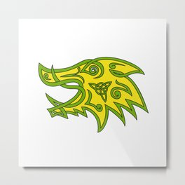 Boar Head Celtic Knot Metal Print