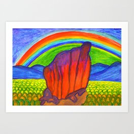 Mystical stone under the rainbow Art Print