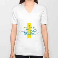 ukraine V-neck T-shirts featuring I love Ukraine by Broncos