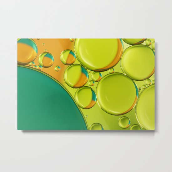 Bubble Abstract with a Twist of Lime Metal Print