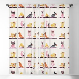 French Bulldog Yoga Watercolor Blackout Curtain
