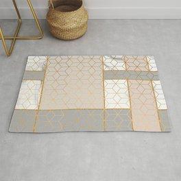 Golden Pastel Marble Geometric Design Rug