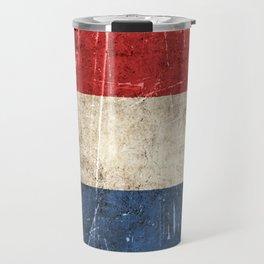 Vintage Aged and Scratched Dutch Flag Travel Mug