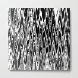 Zigzag Black and White Metal Print