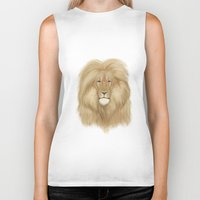 the lion king Biker Tanks featuring king lion by Ewa Pacia