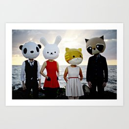 Dapper Animals Sunset Faces Art Print