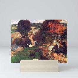 """Paul Gauguin - La bergère bretonne """"The Breton shepherdess"""" (1886) Mini Art Print"""