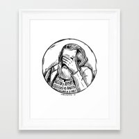 marx Framed Art Prints featuring Facepalm Marx by Velozee
