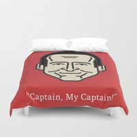 "robin williams Duvet Covers featuring ROBIN WILLIAMS - ""Captain, My Captain!"" by Gerardo Lisanti"