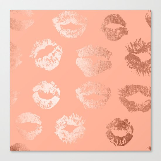 Sweet Life Lips Peach Coral Pink Shimmer Canvas Print