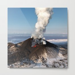 Eruption volcano - effusion from crater lava, gas, steam, ash Metal Print