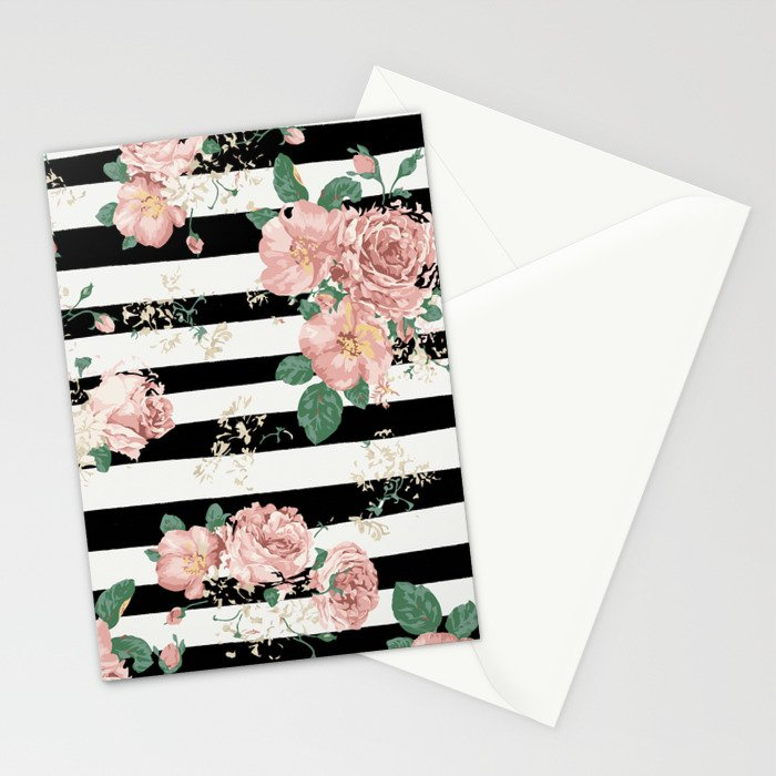 VINTAGE FLORAL ROSES BLACK AND WHITE STRIPES Stationery Cards