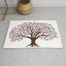 apple tree with pink blossom on the white background Rug