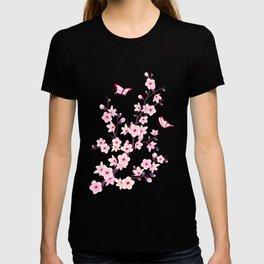 Cherry Blossoms Pink Black T-shirt