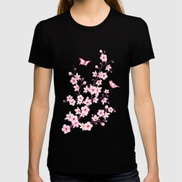 Cherry Blossom Pink Black T-shirt