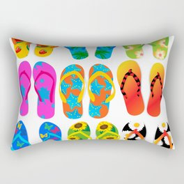 Sandals Colorful Fun Beach Theme Summer Rectangular Pillow
