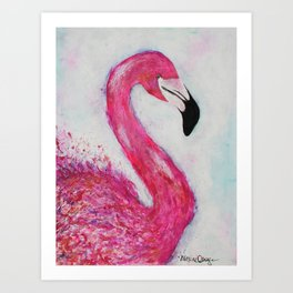 Hot Pink Flamingo vibrant mixed media with watercolor background Art Print