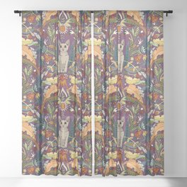 Peterbald cat damask purple Sheer Curtain