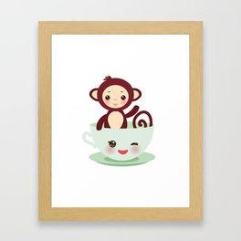 Cute Kawai pink cup with brown monkey Framed Art Print