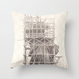 Construction of The Statue of Liberty Throw Pillow