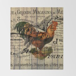 vintage typography barn wood shabby french country poulet chicken rooster Throw Blanket